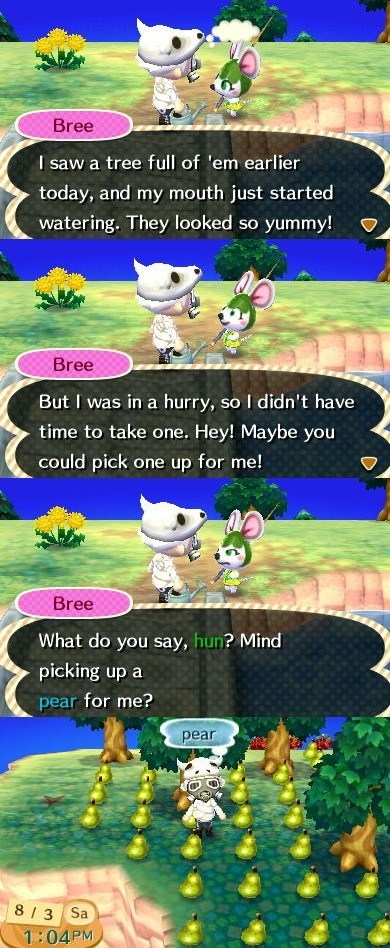 bree,animal crossing,pears