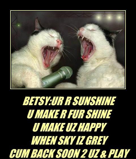 BETSY:UR R SUNSHINE U MAKE R FUR SHINE U MAKE UZ HAPPY WHEN SKY IZ GREY CUM BACK SOON 2 UZ & PLAY & JOIN R PLAY