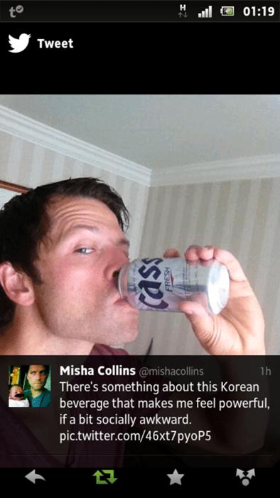 drink,twitter,Supernatural,misha collins,castiel,cass