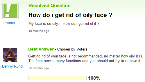 oily faces yahoo answers faces