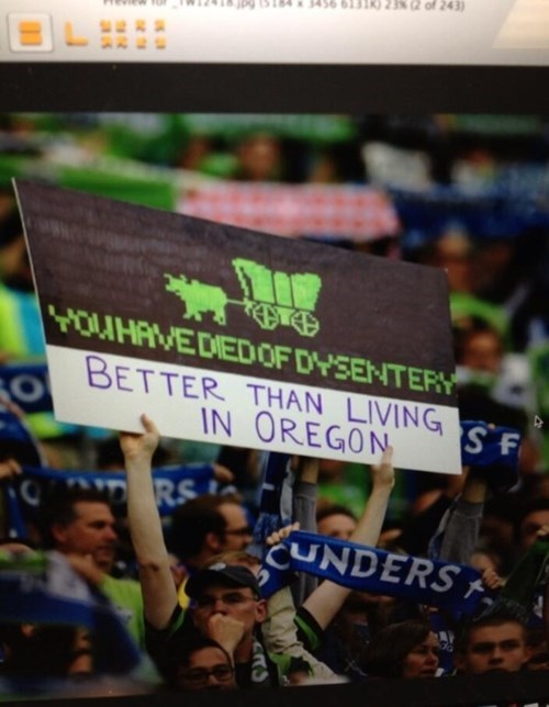seattle sounders,IRL,signs,organ trail