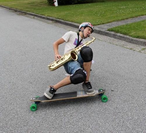 skateboarding saxophone BAMF funny - 7763986432