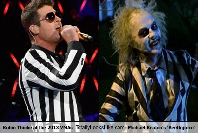 beetlejuice Michael Keaton MTV VMAs totally looks like robin thicke
