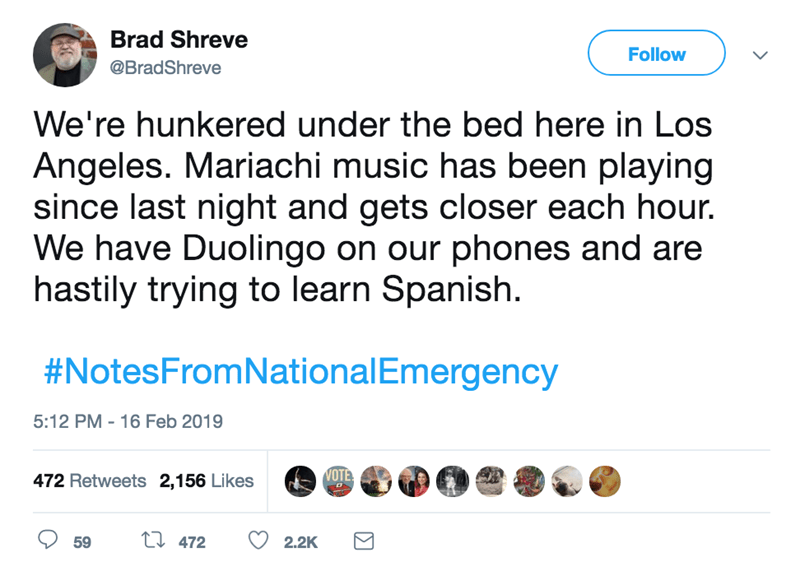 twitter responses to the national emergency trump declared to build his wall