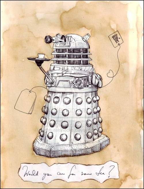 Fan Art,daleks,doctor who,tea