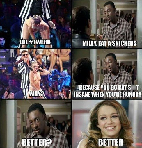 Memes,twerking I guess,miley cyrus,snickers