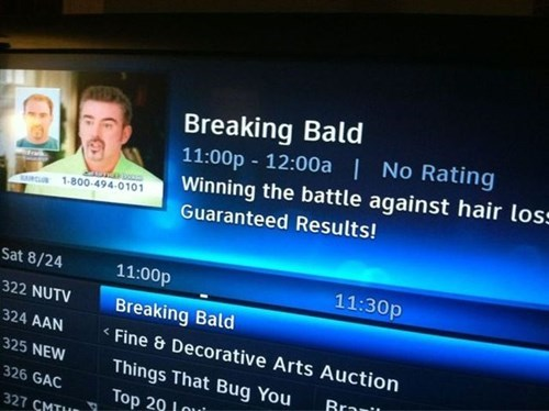 breaking bad,hair loss,balding,funny,tv guide