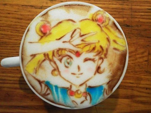 sailor moon,coffee,funny,latte,coffee art