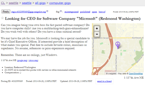 ceo wanted,windows,ceo,craiglist,microsoft,steve ballmer