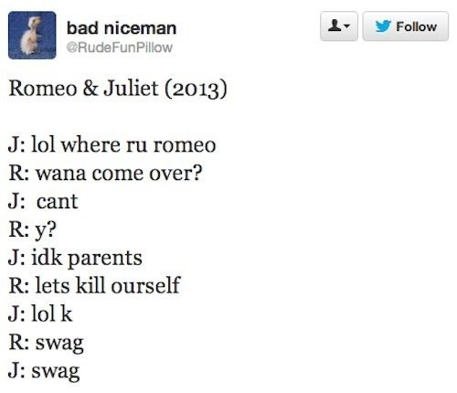 tweet funny romeo and juliet g rated dating - 7771104000