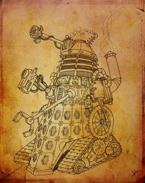 dalek Fan Art Steampunk Exterminate doctor who - 7772044288