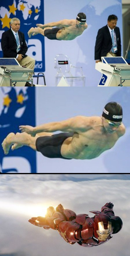 diving swimming iron man funny