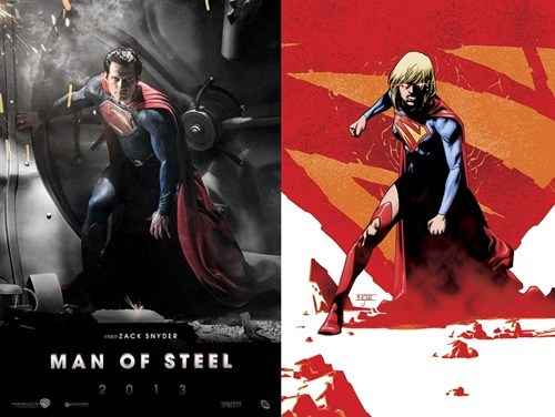 pose similarities cover man of steel superman supergirl off the page