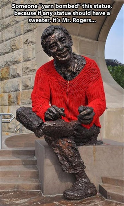 mr rogers,yarnbombed