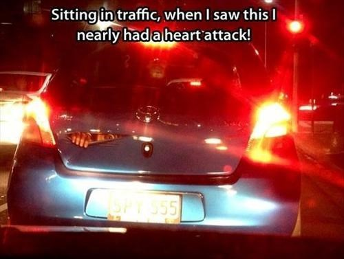 cars heart attack bumper stickers traffic - 7777305856