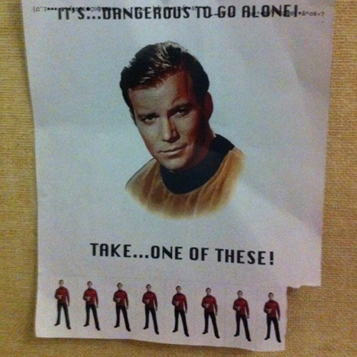 its dangerous to go alone classic jokes red shirts Star Trek zelda