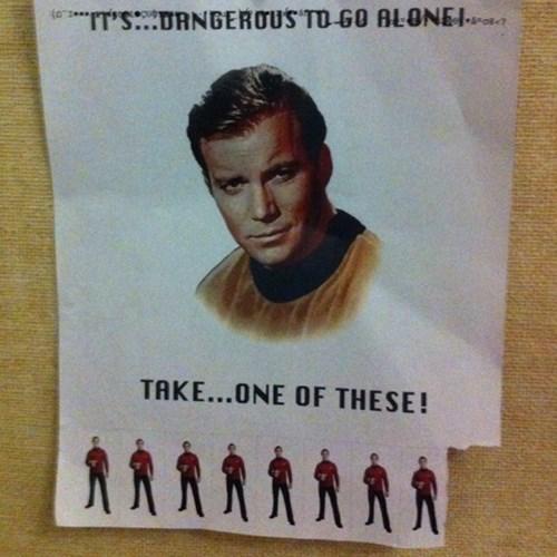 its dangerous to go alone classic jokes red shirts Star Trek zelda - 7777334528