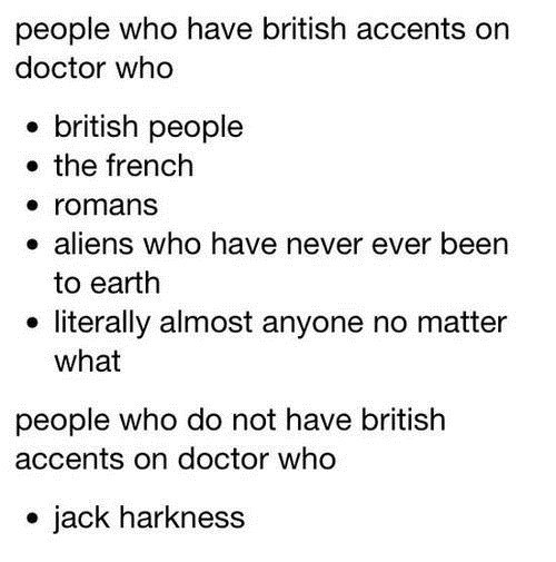 Captain Jack Harkness accents doctor who - 7778351616