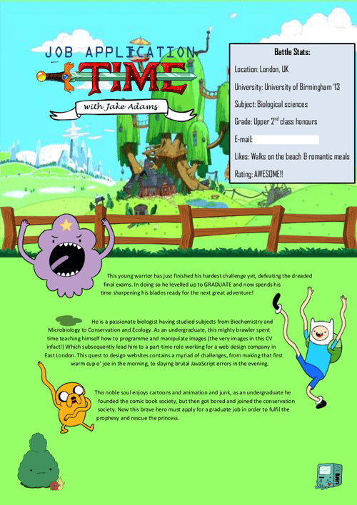 cartoons resume adventure time job application - 7778356992