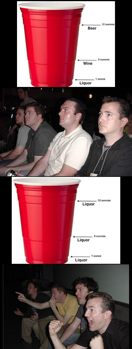 red cups reaction guys liquor funny - 7778537728