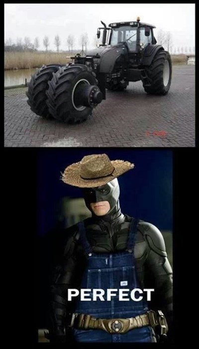 tractor,farmer,dark knight,bat mobile,scarecrow,batman