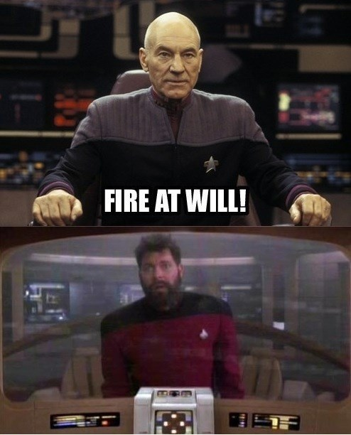 picard TNG pun Riker Star Trek fire at will patrick stewart - 7778649856
