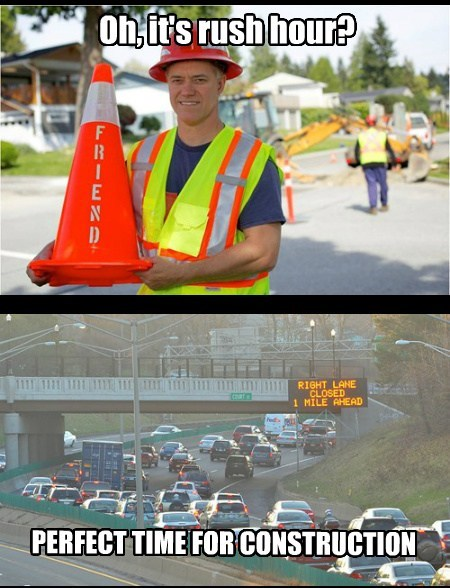 rush hour,construction,driving,funny