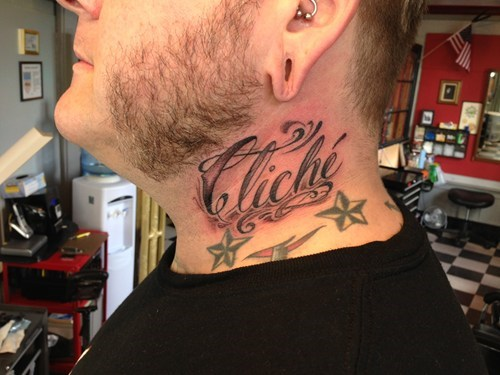 cliché neck tats tattoos irony funny - 7778886144