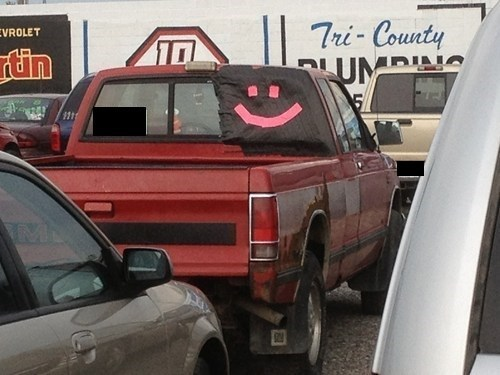 smiley face pickup truck duct tape funny there I fixed it windshield g rated