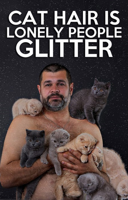 hair cat glitter lonely poorly dressed g rated