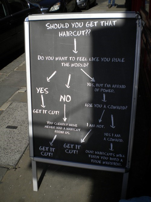 haircut bravery decision tree choices