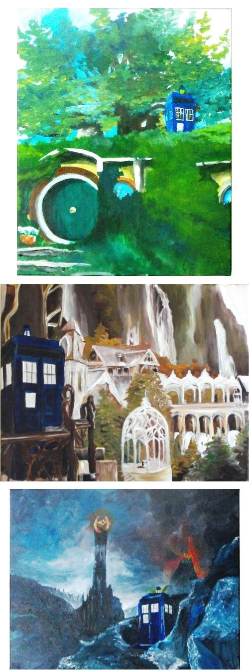 Lord of the Rings crossover Fan Art tardis doctor who middle earth - 7780288000