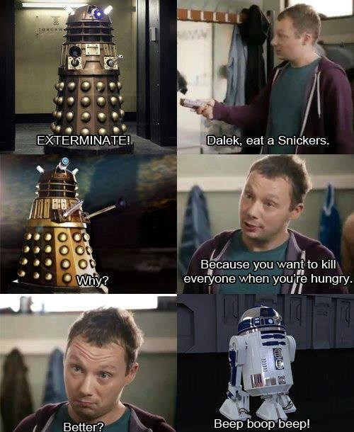 dalek,Exterminate,r2-d2,doctor who,snickers