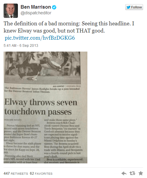 the columbus dispatch nfl Denver Broncos newspapers john elway newspaper headlines football headlines nfl kickoff baltimore ravens headline fail failbook - 7782621440
