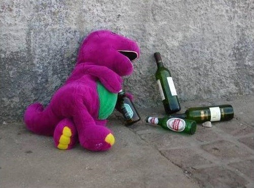 barney,dinosaur,crunk,passed out,funny