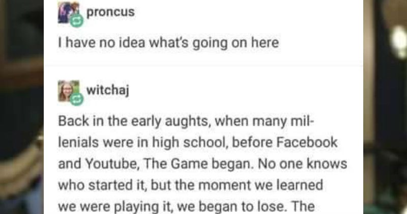 Tumblr post that explains The Game