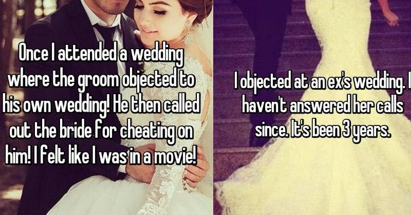 wedding drama, crashing a wedding, object at a wedding