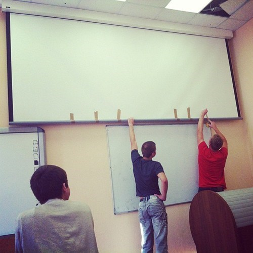 duct tape,funny,there I fixed it,projector screen
