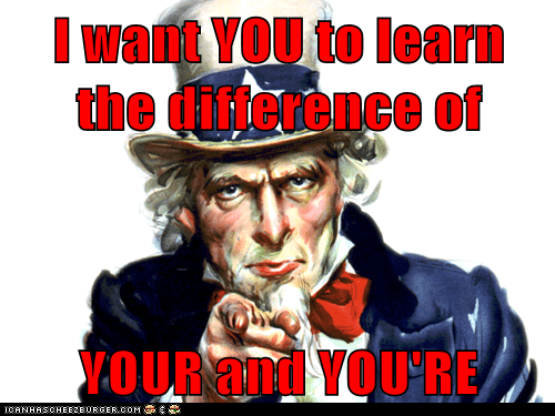 I want YOU to learn the difference of  YOUR and YOU'RE