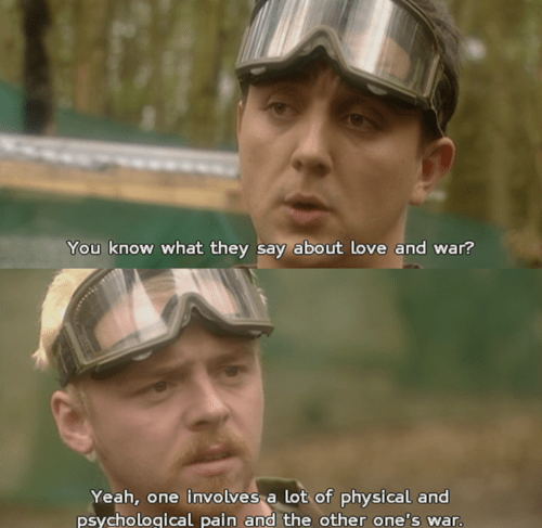 spaced Simon Pegg love and war funny - 7788436992