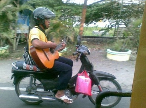 guitar,motorcycle,dangerous,funny