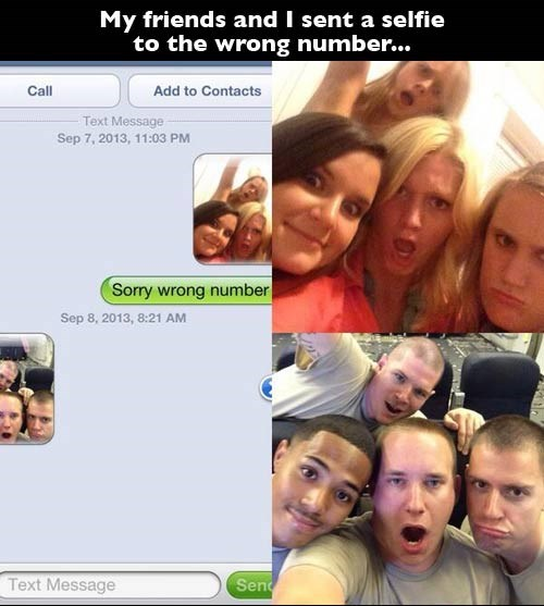 wrong number,selfie,texting