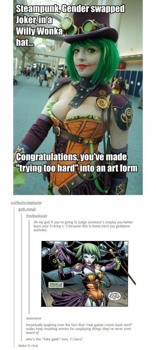 cosplay,duela dent,girls,geeks,idiots,poorly dressed