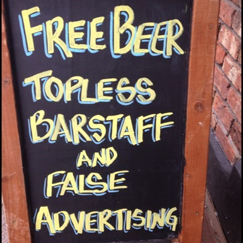bar ads,false advertising,bar signs