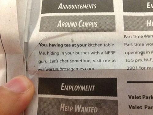 creepy Nerf funny newspaper - 7791144448