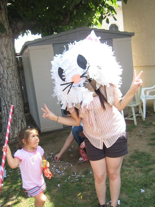 Trying on the pinata head is a bad idea.