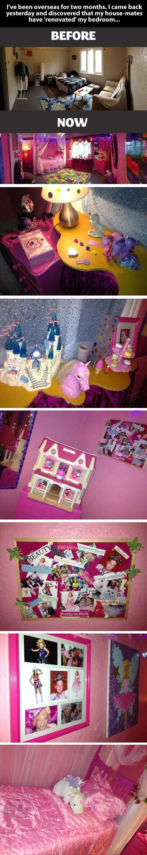 pretty princess room,redecorating,roommate pranks,roommates