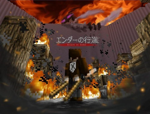 crossover anime Fan Art minecraft attack on titan video games