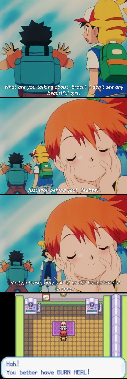 brock,anime,misty,burn