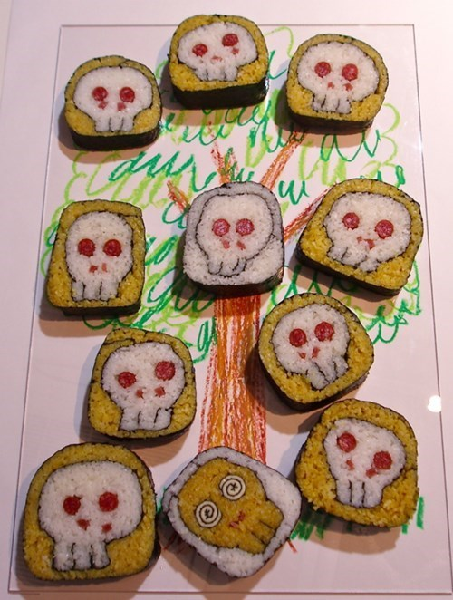 art sushi skulls food funny - 7793723392